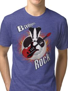 Badgers rock with text Tri-blend T-Shirt