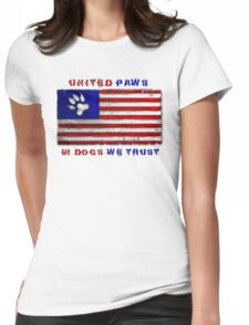 Distressed Paws & Stripes Flag w/ Qoute Womens Fitted T-Shirt