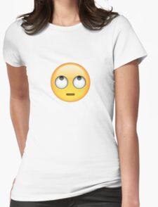Roll Eyes Emoji Womens Fitted T-Shirt