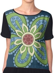 Blue and Green Cartoon Flower Chiffon Top