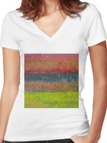 Abstract Landscape Series - Lake And Hills Women's Fitted V-Neck T-Shirt