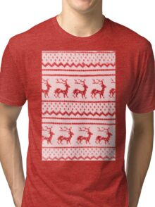 Ugly Christmas Sweater Pattern Tri-blend T-Shirt