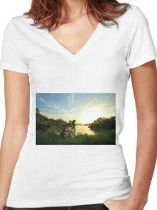 Gatun lakes jungle Women's Fitted V-Neck T-Shirt