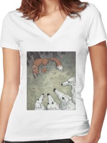 Fox Hunt Women's Fitted V-Neck T-Shirt