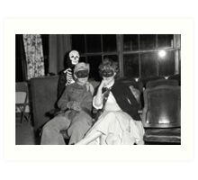 1940s Found Photo Halloween Card - Masked Partiers 4 Art Print