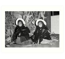 1940s Found Photo Halloween Card - Twin Witches 1 Art Print