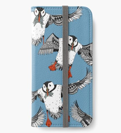 Atlantic Puffins blue iPhone Wallet/Case/Skin