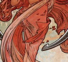 'Dance' by Alphonse Mucha (Reproduction) Sticker