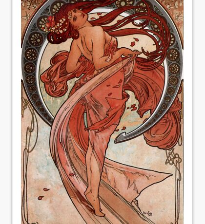'Dance' by Alphonse Mucha (Reproduction) Sticker