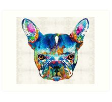 Colorful French Bulldog Dog Art By Sharon Cummings Art Print