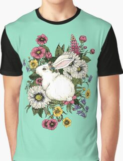 Rabbit in Flowers Graphic T-Shirt