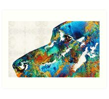 Colorful Dog Art - Loving Eyes - By Sharon Cummings  Art Print