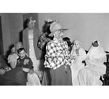 1940s Found Photo Halloween Card - Masked Partiers 7 Photographic Print