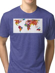 Map of The World 2 -Colorful Abstract Art Tri-blend T-Shirt