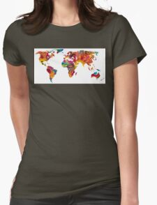 Map of The World 2 -Colorful Abstract Art Womens Fitted T-Shirt