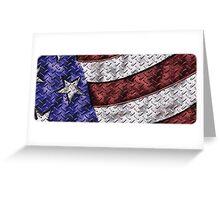 Diamond Plate American Flag Greeting Card