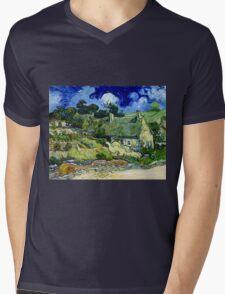 Vincent van Gogh Thatched Cottage at Cordeville Mens V-Neck T-Shirt