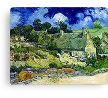 Vincent van Gogh Thatched Cottage at Cordeville Canvas Print