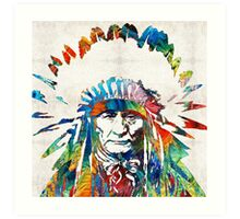 Native American Art - Chief - By Sharon Cummings Art Print