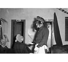 1940s Found Photo Halloween Card - Masked Partiers 10 Photographic Print