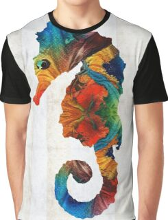 Colorful Seahorse Art by Sharon Cummings Graphic T-Shirt