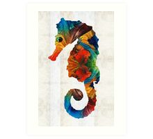 Colorful Seahorse Art by Sharon Cummings Art Print