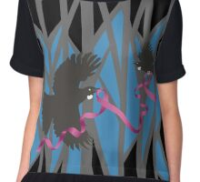Flying Tui in Forest with Pink Ribbon Chiffon Top