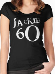 Jackie 60 Classic White Logo on Black Gear Women's Fitted Scoop T-Shirt