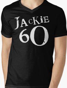 Jackie 60 Classic White Logo on Black Gear Mens V-Neck T-Shirt