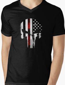 Punisher Red line 2016 Mens V-Neck T-Shirt