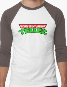 Hyper Geeky Johnny Tellez logo Men's Baseball ¾ T-Shirt