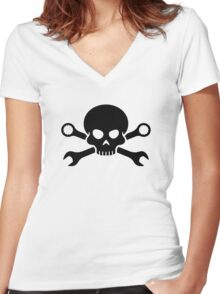 Skull 'n' Tools - Screw Pirate 1 (black) Women's Fitted V-Neck T-Shirt
