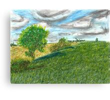 Illinois Farmland Oil Pastel Canvas Print
