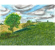 Illinois Farmland Oil Pastel Photographic Print