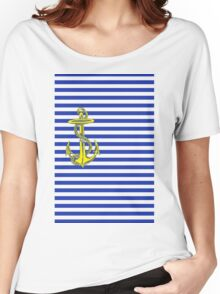 Navy Nautical Stripes with Gold Anchor Women's Relaxed Fit T-Shirt