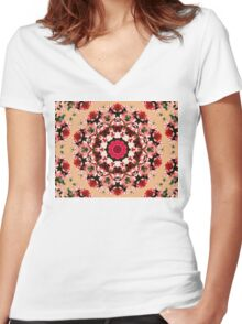 Floral Mandala Women's Fitted V-Neck T-Shirt