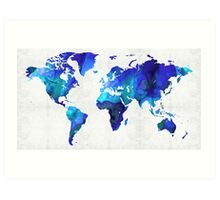 World Map 17 - Blue Art By Sharon Cummings Art Print