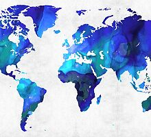World Map 17 - Blue Art By Sharon Cummings by Sharon Cummings