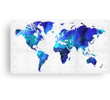 World Map 17 - Blue Art By Sharon Cummings Canvas Print
