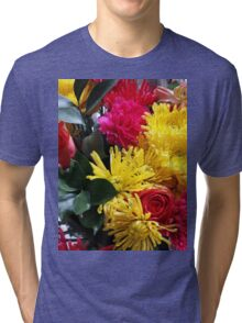 Pink and Yellow Bouquet Tri-blend T-Shirt