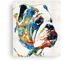 Bulldog Pop Art - How Bout A Kiss - By Sharon Cummings Canvas Print