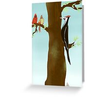 Woodpecker and Cardinals Greeting Card