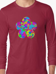 Crazy Colorful Circles Pattern Long Sleeve T-Shirt