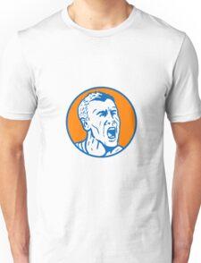 Angry Man Shouting Circle Retro Unisex T-Shirt