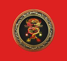 Brotherhood of the Snake - The Red and The Yellow Dragons on Red Velvet Unisex T-Shirt