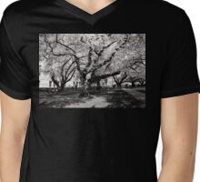 Cherry Blossom Spring in Black and White Mens V-Neck T-Shirt
