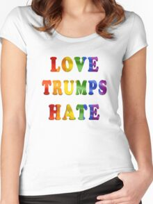 Love Trumps Hate (Rainbow Letters) Women's Fitted Scoop T-Shirt