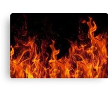 Flaming Fire In the dark Canvas Print