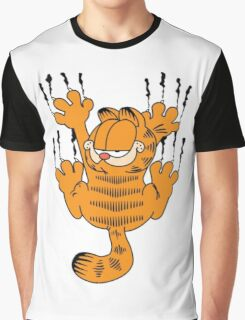 Funny Garfield Scratching Graphic T-Shirt