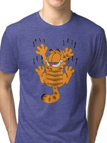 Funny Garfield Scratching Tri-blend T-Shirt